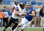 BROOKINGS, SD - NOVEMBER 16: Will McElvain #13 of the Northern Iowa Panthers is scrabbles while being chased by Caleb Sanders #99 of the South Dakota State Jackrabbits during their game Saturday afternoon at Dana J. Dykhouse Stadium in Brookings, SD. (Photo by Dave Eggen/Inertia)