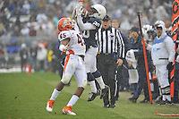 29 October 2011:  Penn State WR Devon Smith (20) makes a catch while tightly covered by Illinois LB Jonathan Brown (45) along the side line. The Penn State Nittany Lions defeated the Illinois Fighting Illini 10-7 to at Beaver Stadium in State College, PA..