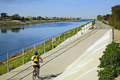 Bicycle path along Ballona Creek, Los Angeles, Calififornia, USA