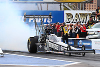 Feb 20, 2015; Chandler, AZ, USA; NHRA top fuel driver Brittany Force during qualifying for the Carquest Nationals at Wild Horse Pass Motorsports Park. Mandatory Credit: Mark J. Rebilas-
