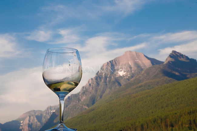 A wine glass with mountain background