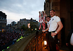 John Fleck of Sheffield Utd  and Paul Coutts of Sheffield Utd during the open top bus parade from Bramall Lane Stadium to Sheffield Town Hall, Sheffield. Picture date: May 2nd 2017. Pic credit should read: Simon Bellis/Sportimage