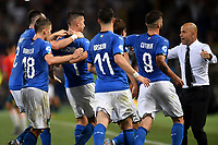 Lorenzo Pellegrini of Italy celebrates with team mates and Luigi Di Biagio coach of Italy after scoring the goal of 3-1 with Patrick Cutrone <br /> Bologna 16-06-2019 Stadio Renato Dall'Ara <br /> Football UEFA Under 21 Championship Italy 2019<br /> Group Stage - Final Tournament Group A<br /> Italy - Spain <br /> Photo Andrea Staccioli / Insidefoto