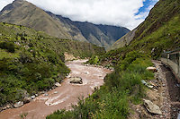 Peru.  Urubamba River Seen from Inca Rail Train en Route to Machu Picchu.