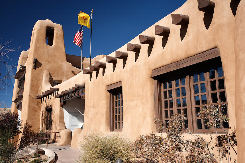 Facade of The New Mexico Museum of Art, Santa Fe, New Mexico