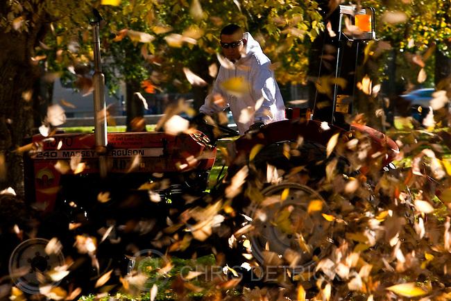 Chris Detrick  |  The Salt Lake Tribune .James Alarid blows leaves at Liberty Park Wednesday November 3, 2010.