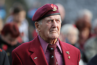 Pictured: An ex serviceman observes the minute's silence Friday 11 November 2016<br /> Re: Remembrance Day service at Castle Square Gardens in Swansea, south Wales, UK.