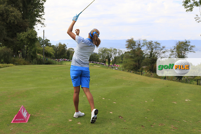 Lexi Thompson (USA) tees off the par3 14th tee during Sunday's Final Round of the LPGA 2015 Evian Championship, held at the Evian Resort Golf Club, Evian les Bains, France. 13th September 2015.<br /> Picture Eoin Clarke | Golffile
