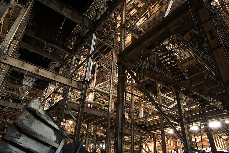 The steel structure of an old factory