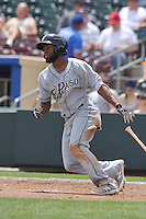 El Paso Chihuahuas Manuel Margot (4) swings during the game against the Omaha Storm Chasers at Werner Park on May 30, 2016 in Omaha, Nebraska.  El Paso won 12-0.  (Dennis Hubbard/Four Seam Images)