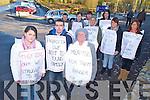 Pictured during their protest outside Our Lady of Lourdes nursing home, Killcummin, on Sunday were Nicola Halpin, Damien Halpin, Helen Murphy, Tom Lynch, Sharon Larkin, Teresa Larkin, Martin Murphy, Edward Mullane, Suzanne Mullane and Eileen Lynch.