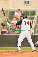 Grant Buckner #14 of the Kannapolis Intimidators at bat against the Augusta GreenJackets at CMC-Northeast Stadium on May 3, 2012 in Kannapolis, North Carolina.  The Intimidators defeated the GreenJackets 11-1.  (Brian Westerholt/Four Seam Images)