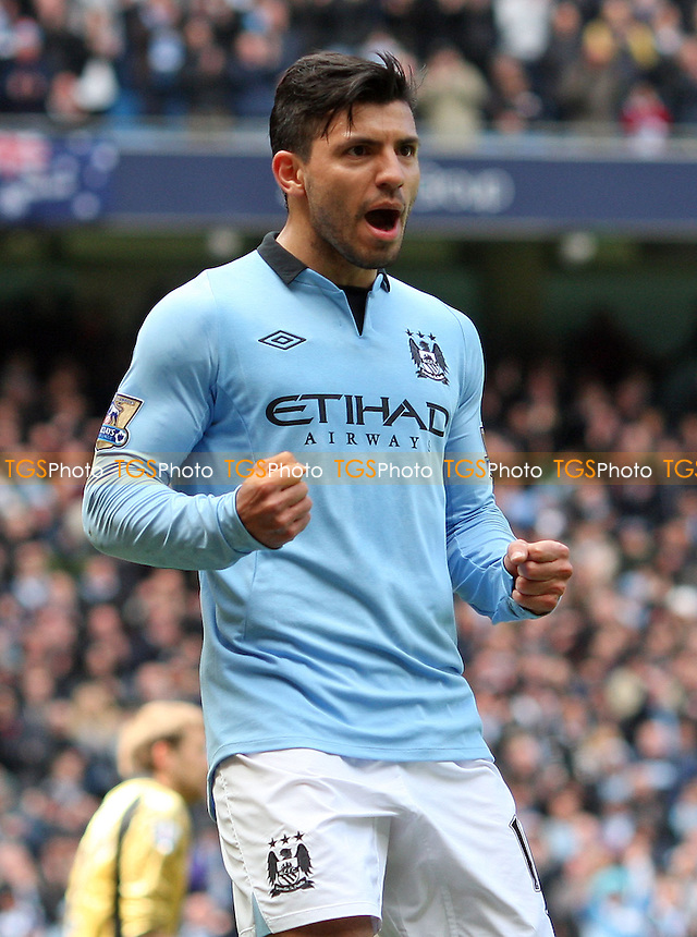 Sergio Aguero celebrates after scoring the 1st goal for Man City - Manchester City vs West Ham United, Barclays Premier League at the Etihad Stadium, Manchester - 27/04/13 - MANDATORY CREDIT: Rob Newell/TGSPHOTO - Self billing applies where appropriate - 0845 094 6026 - contact@tgsphoto.co.uk - NO UNPAID USE.