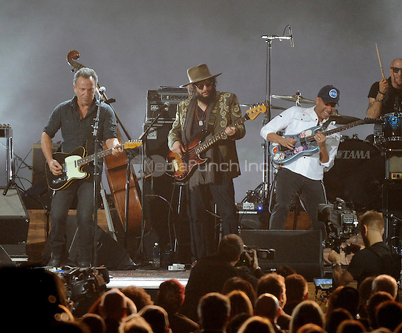 LOS ANGELES, CA -  FEBRUARY 6: Bruce Springsteen, Don Was, and Tom Morelo perform at the 2015 MusiCares Person of the Year tribute honoring Bob Dylan at the Los Angeles Convention Center on February 6, 2015 in Los Angeles, California. FMPG/MediaPunch