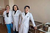 Nurses in the .Centre for Re-creational Plastic Surgery and Thermal Affects, Tbilisi. The formerly public premier burns and plastic surgery hospital in the Caucasus region is now owned by PSP, a private health and pharmaceutical company.  Many of Georgia's hospitals are facing the threat of privatisation.