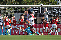 Kenza Dali of West Ham puts a late free-kick over the bar during Arsenal Women vs West Ham United Women, Barclays FA Women's Super League Football at Meadow Park on 8th September 2019