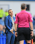 1st October 2017, Hillsborough, Sheffield, England; EFL Championship football, Sheffield Wednesday versus Leeds United; Carlos Carvalhal Manager of Sheffield Wednesday makes it clear to the linesman that he  made a poor decision