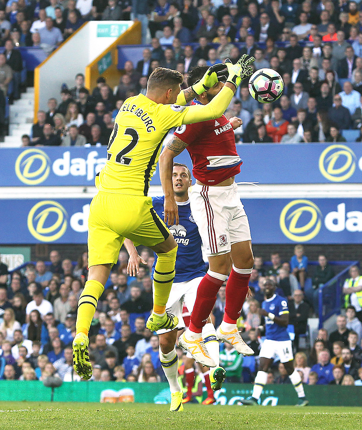 Everton's Maarten Stekelenburg has an aerial ball knocked out of his hands by Middlesbrough's Alvaro Negredo leading to the controversial opening goal<br /> <br /> Photographer Rich Linley/CameraSport<br /> <br /> The Premier League - Everton v Middlesbrough - Saturday 17th September 2016 - Goodison Park - Liverpool<br /> <br /> World Copyright &copy; 2016 CameraSport. All rights reserved. 43 Linden Ave. Countesthorpe. Leicester. England. LE8 5PG - Tel: +44 (0) 116 277 4147 - admin@camerasport.com - www.camerasport.com