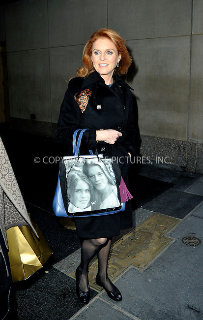 WWW.ACEPIXS.COM<br /> <br /> January 13 2015, New York City<br /> <br /> Dutchess of York Sarah Ferguson carries a bag with the faces of her daughters Eugenie and Beatrice as she made an appearance at 'The Today Show' on January 13 2015 in New York City.<br /> <br /> By Line: Curtis Means/ACE Pictures<br /> <br /> <br /> ACE Pictures, Inc.<br /> tel: 646 769 0430<br /> Email: info@acepixs.com<br /> www.acepixs.com