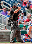 1 August 2018: MLB Umpire Brian O'Nora works behind the plate during a game between the New York Mets and the Washington Nationals at Nationals Park in Washington, DC. The Nationals defeated the Mets 5-3 to sweep the 2-game weekday series. Mandatory Credit: Ed Wolfstein Photo *** RAW (NEF) Image File Available ***