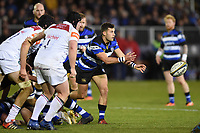 Max Green of Bath Rugby passes the ball. Anglo-Welsh Cup match, between Bath Rugby and Leicester Tigers on November 10, 2017 at the Recreation Ground in Bath, England. Photo by: Patrick Khachfe / Onside Images