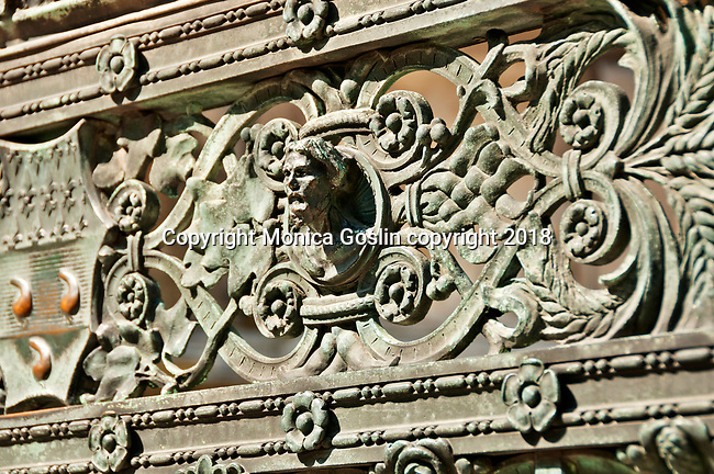 Detail of the elaborate fence of the Cappella Colleoni, mausoleum and church in Bergamo, Italy that dates back to the late 15th century