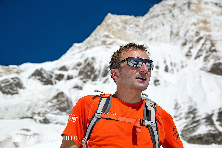 Ueli Steck returned to Nepal and the Annapurna south face in 2013 which he climbed solo, without oxygen, in one 28 hour alpine push, via a new route. The trip was his third attempt to climb the 8000 meter peak. Ueli on the glacier where he connected with friends during his descent.