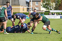 Jason Harries of London Scottish with the ball during the Greene King IPA Championship match between London Scottish Football Club and Nottingham Rugby at Richmond Athletic Ground, Richmond, United Kingdom on 15 April 2017. Photo by David Horn.