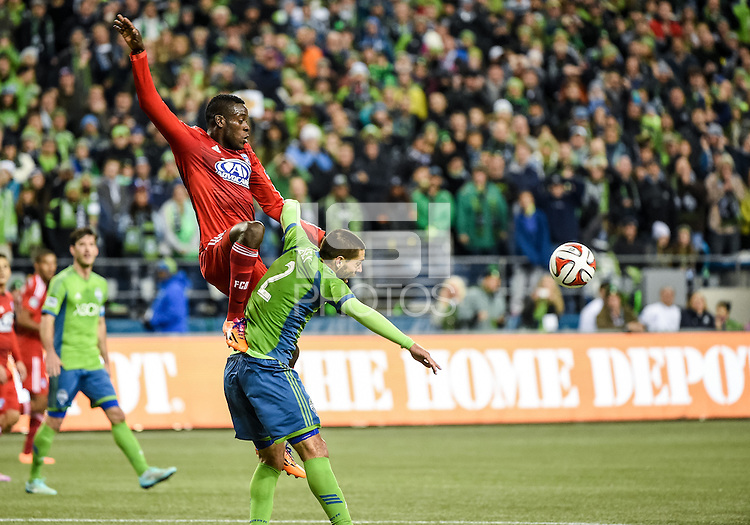 Seattle, Washington - November 10,  2014: The Seattle Sounders FC defeat FC Dallas to win the 2014 MLS Cup playoffs Western Conference Semifinals at CenturyLink Field.