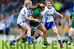 Andrea Murphy of Kerry in action against Mairead Wall and Kate McGrath Waterford  during the TG4 Munster Senior Ladies Football Championship semi-final match between Kerry and Waterford at Fitzgerald Stadium in Killarney on Sunday.