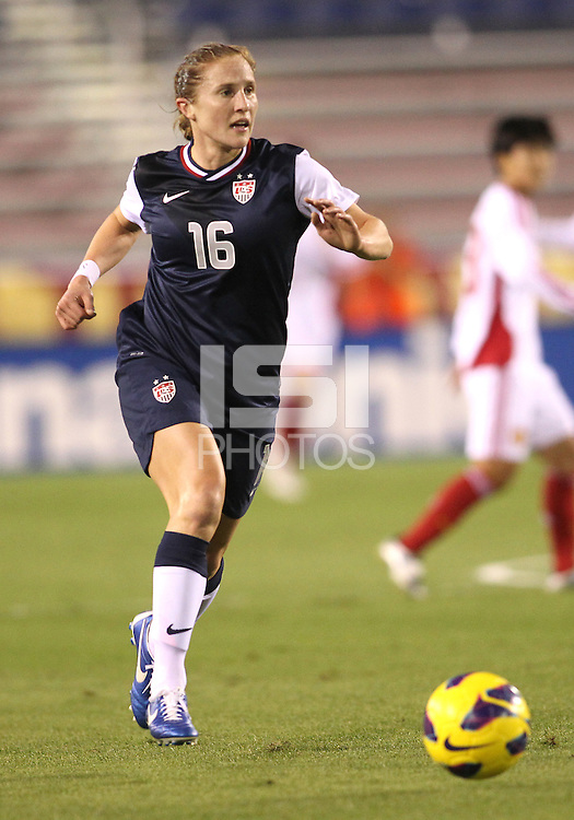 BOCA RATON, FL - DECEMBER 15, 2012: Rachel Buehler (16) of the USA WNT against China WNT during an international friendly match at FAU Stadium, in Boca Raton, Florida, on Saturday, December 15, 2012. USA won 4-1.