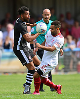 Lincoln City's Matt Green vies for possession with Ben Fairclough<br /> <br /> Photographer Chris Vaughan/CameraSport<br /> <br /> Football - Pre-Season Friendly - Lincoln United v Lincoln City - Saturday 8th July 2017 - Sun Hat Villas Stadium - Lincoln<br /> <br /> World Copyright &copy; 2017 CameraSport. All rights reserved. 43 Linden Ave. Countesthorpe. Leicester. England. LE8 5PG - Tel: +44 (0) 116 277 4147 - admin@camerasport.com - www.camerasport.com