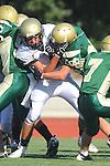 Manhattan Beach, CA 10/27/11 - unidentified Peninsula player(s) in action during the Peninsula vs Mira Costa Junior Varsity football game.