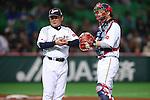 (L to R) . Osamu Higashio (JPN), .Ginjiro Sumitani (JPN), .MARCH 3, 2013 - WBC : .2013 World Baseball Classic .1st Round Pool A .between Japan 5-2 China .at Yafuoku Dome, Fukuoka, Japan. .(Photo by YUTAKA/AFLO SPORT)
