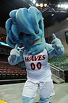 March 6, 2014; Las Vegas, NV, USA; Pepperdine Waves mascot performs against the Santa Clara Broncos during the second half of the WCC Basketball Championships at Orleans Arena. The Waves defeated the Broncos 80-74.