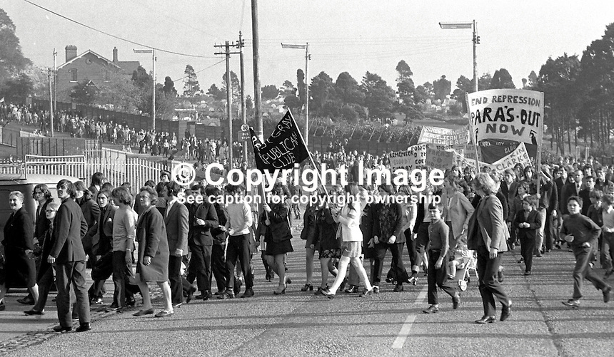 Ballymurphy, Belfast, residents go on the march to protest about the presence of the British Army's Parachute Regiment in their estate. The march was organised by Andersonstown Civil Resistance Committee. 197210150628a..Copyright Image from Victor Patterson, 54 Dorchester Park, Belfast, UK, BT9 6RJ..Tel: +44 28 9066 1296.Mob: +44 7802 353836.Voicemail +44 20 8816 7153.Skype: victorpattersonbelfast.Email: victorpatterson@me.com.Email: victorpatterson@ireland.com (back-up)..IMPORTANT: If you wish to use this image or any other of my images please go to www.victorpatterson.com and click on the Terms & Conditions. Then contact me by email or phone with the reference number(s) of the image(s) concerned.