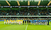 26th March 2018, nib Stadium, Perth, Australia; Womens International football friendly, Australia Women versus Thailand Women; Teams line up for the National Anthems before the start of the match
