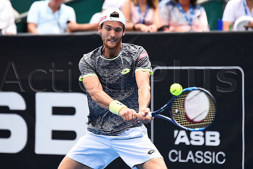 12.01.2017. ASB Tennis Centre, Auckland, New Zealand. ASB Classic Tennis, Day 13. Joao Sousa during the ASB Classic. Sousa won his match in straight sets.