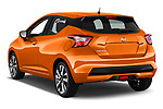 Car pictures of rear three quarter view of 2017 Nissan Micra Tekna 5 Door Hatchback Angular Rear