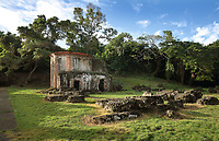 Boca de Nigua or Nigua sugar mill, 17th century, at San Gregorio de Nigua, near Santo Domingo, in the Dominican Republic, Caribbean. The mill was founded by Marquee De Aranda and later owned by Juan Bautista Ollarazaba, and was an important site for the sugar industry, with a mill, furnaces, boiling room, warehouse, guardhouse, distillery and Spanish colonial buildings. The mill is built in the style of the great Cuban and Haitian mills erected late 18th century. It was the site of the first slave rebellion 1796. Restoration began here in 1978 under Baez Lopez-Penha. Picture by Manuel Cohen