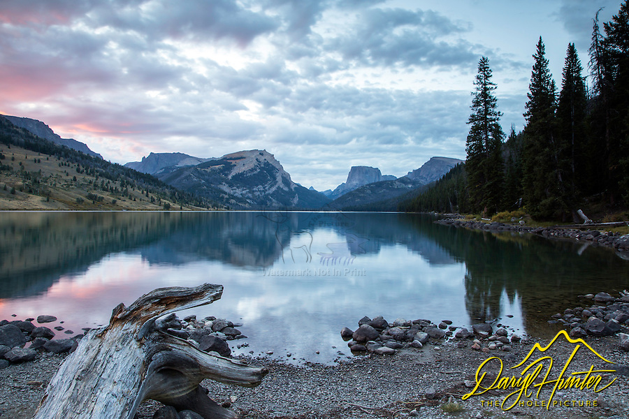 Sunrise at Green River Lake in the Wind River Mountains, Square Top Peak towering above, and its reflection gracing the water below