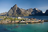 Fisherman cabins at Sakrisoya surrounded by Reinefjord, Mosekenesoya, Lofoten Islands, Norway