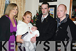 Baby Makaela Curtin, Gneeveguilla, pictured with her parents Michelle Knee and Michael Curtin and godparents Ciara Curtin and Conor Knee at her christening celebrations in Darby O'Gills, Killarney on Sunday 3rd January.