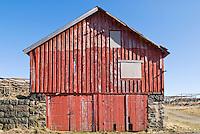Old wooden storage building in the town of Stamsund, Lofoten, Norway