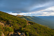 The Presidential Range at sunset from along the Jewell Trail in the White Mountains, New Hampshire USA.