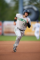 Clinton LumberKings designated hitter Joe Rizzo (10) runs the bases during a game against the West Michigan Whitecaps on May 3, 2017 at Fifth Third Ballpark in Comstock Park, Michigan.  West Michigan defeated Clinton 3-2.  (Mike Janes/Four Seam Images)
