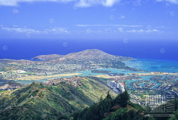View of Hawaii Kai from Mariners ridge on Oahu