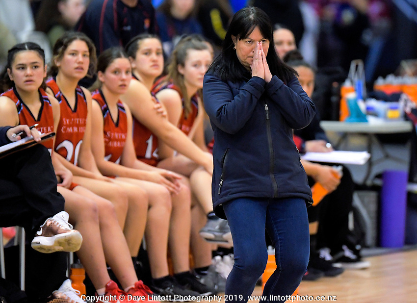 St Peters coach Leanne Walker during the 2019 Schick AA Girls' Secondary Schools Basketball National Championship final between St Peters School Cambridge and Hamilton Girls' High School at the Central Energy Trust Arena in Palmerston North, New Zealand on Saturday, 5 October 2019. Photo: Dave Lintott / lintottphoto.co.nz