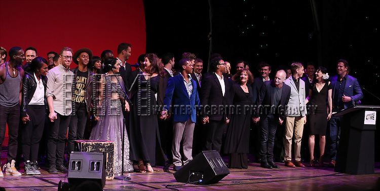 Celina Jaitly, Stephanie J. Block, Billy Porter, Patti LuPone, Sting, Vlad, Lena Hall, Thomas Roberts and cast performing at 'Uprising Of Love: A Benefit Concert For Global Equality' at the Gershwin Theatre on September 15, 2014 in New York City.