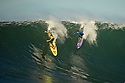 "Ken ""Skindog"" Collins (yellow) Rusty Long (blue) Heat 1 Mavericks Invitational 2012/1013"